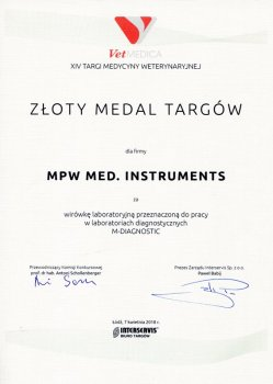 The Gold Medal of the VETMEDICA 2018 M-DIAGNOSTIC Fair